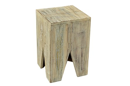 Otb White Wash Triangle Stool