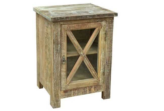 White Wash X Side Table - 360