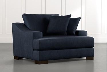 Lodge Foam Navy Blue Oversized Chair