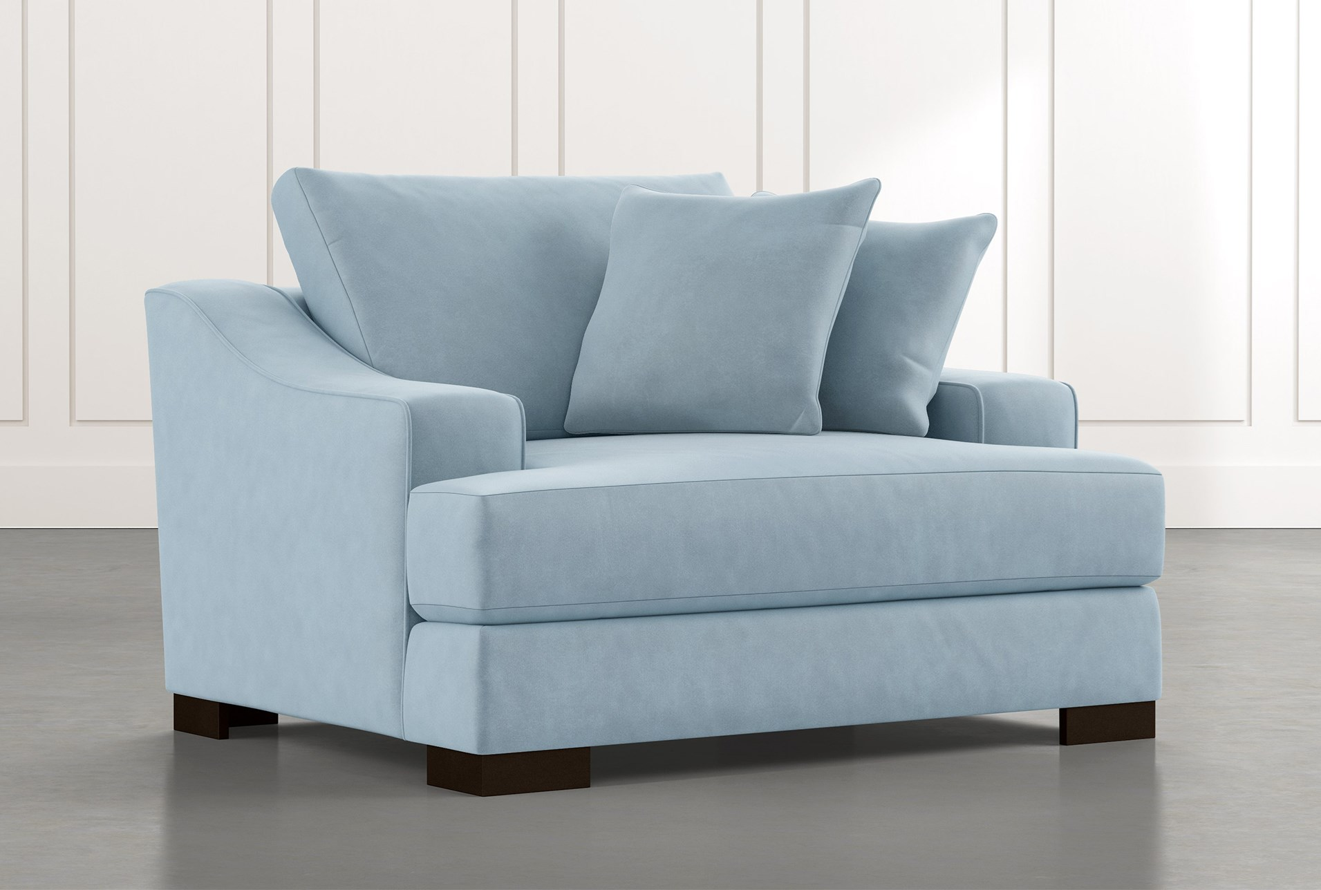 Lodge Foam Light Blue Oversized Chair | Living Spaces