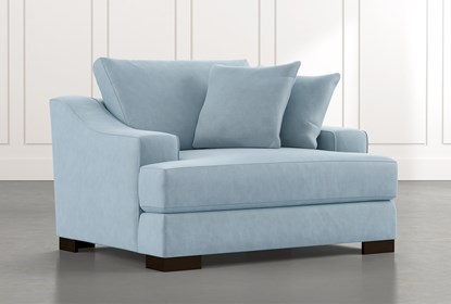 Lodge Foam Light Blue Oversized Chair Living Spaces
