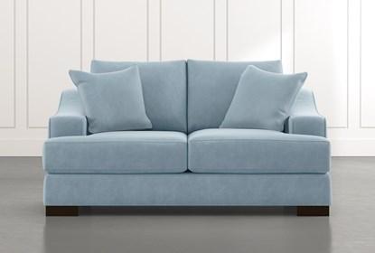 Lodge Light Blue Foam Loveseat Living Spaces