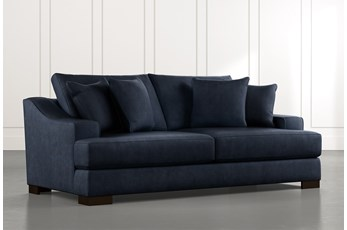 "Lodge 96"" Navy Blue Sofa"