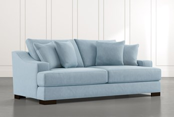 "Lodge 96"" Light Blue Sofa"