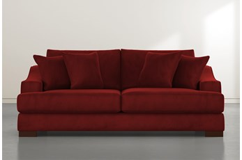 Lodge Burgundy Velvet Sofa
