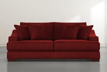"""Lodge 96"""" Burgundy Velvet Sofa"""