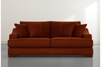 Lodge Orange Velvet Sofa
