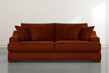 "Lodge 96"" Orange Velvet Sofa"