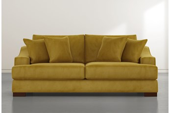"Lodge 96"" Gold Velvet Sofa"