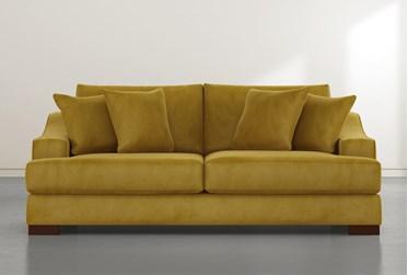 """Lodge 96"""" Gold Velvet Sofa"""