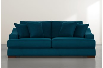 Lodge Teal Blue Velvet Sofa