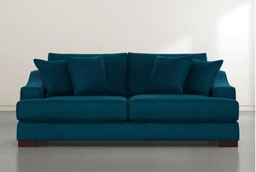"""Lodge 96"""" Teal Blue Velvet Sofa"""