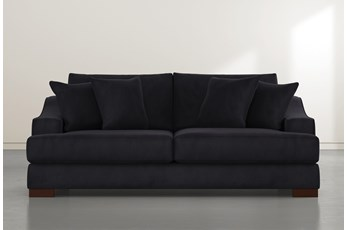 "Lodge 96"" Dark Grey Velvet Sofa"