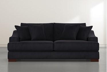 """Lodge 96"""" Black Velvet Sofa"""