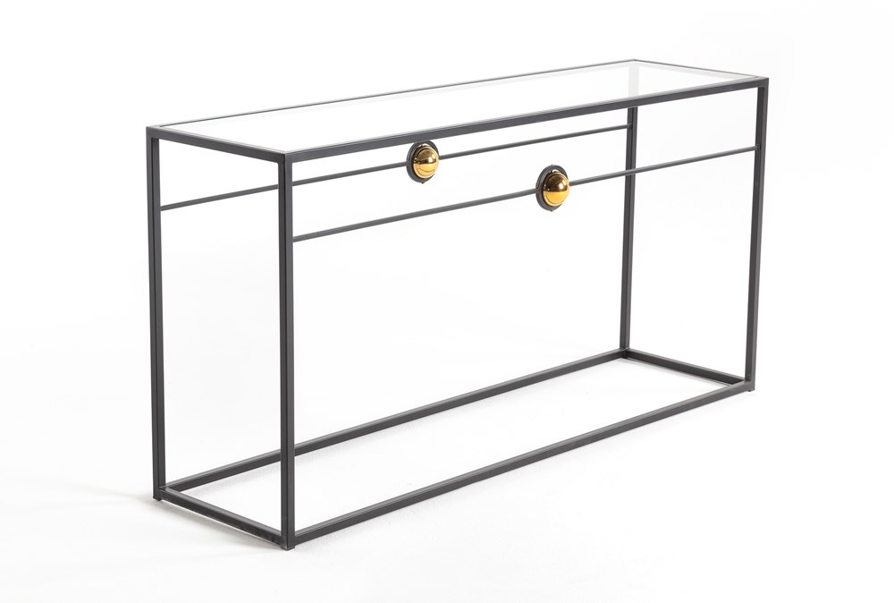 """Brass Ball Glass 60"""" Sofa Table By Nate Berkus and Jeremiah Brent"""