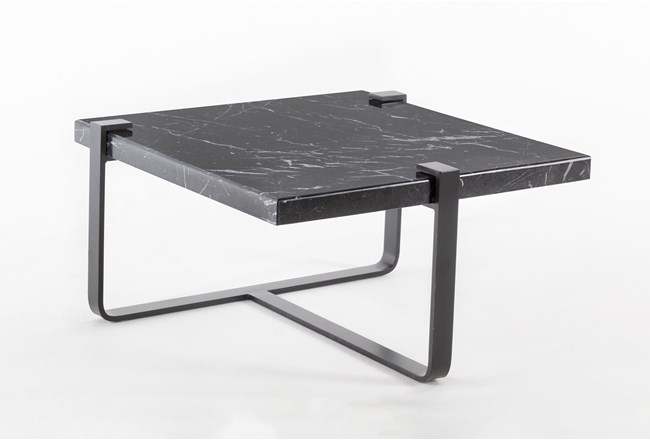 Black Marble End Table By Nate Berkus and Jeremiah Brent  - 360
