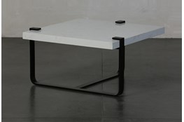 White Marble End Table By Nate Berkus and Jeremiah Brent