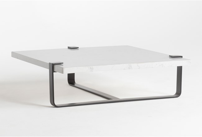 White Marble Coffee Table By Nate Berkus and Jeremiah Brent  - 360