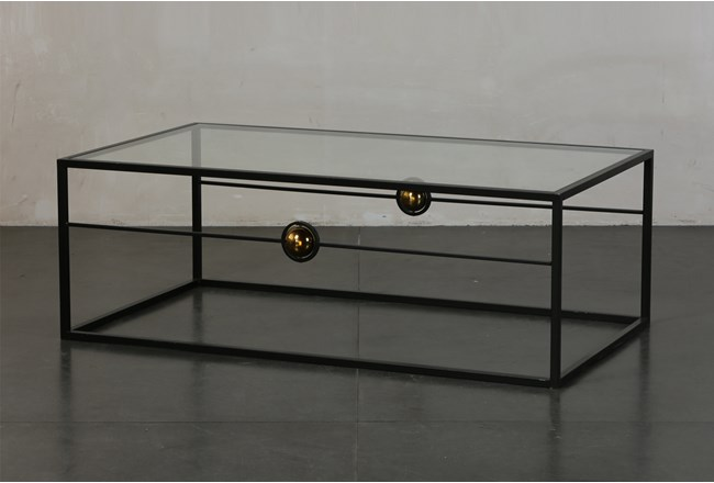 Brass Ball Glass Coffee Table By Nate Berkus and Jeremiah Brent  - 360