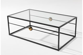 Brass Ball Glass Coffee Table By Nate Berkus and Jeremiah Brent