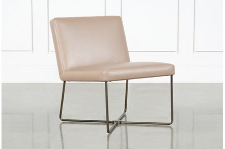 Armless Taupe Leather Chair By Nate Berkus and Jeremiah Brent