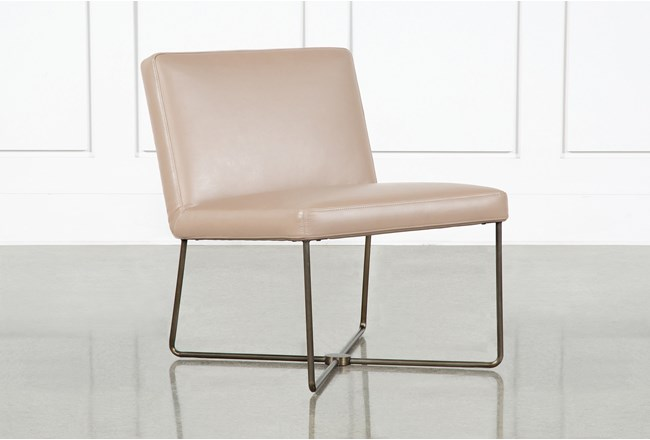 Armless Taupe Leather Chair By Nate Berkus and Jeremiah Brent  - 360