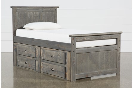 Summit Grey Twin Panel Bed With Single 4-Drawer Storage Unit