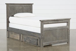 Summit Grey Twin Panel Bed With Single 2-Drawer Underbed Storage