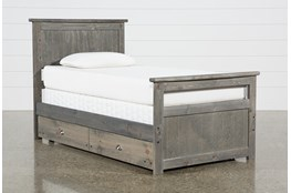 Summit Grey Twin Panel Bed With Trundle With Mattress