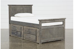 Summit Grey Twin Panel Bed With 2-Drawer Captain'S Trundle