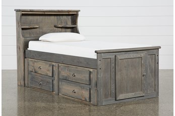Summit Grey Twin Bookcase Bed With Single 4-Drawer Storage Unit