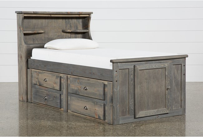 Summit Grey Twin Bookcase Bed With Single 4-Drawer Storage Unit - 360