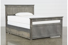 Summit Grey Full Panel Bed With Trundle With Mattress