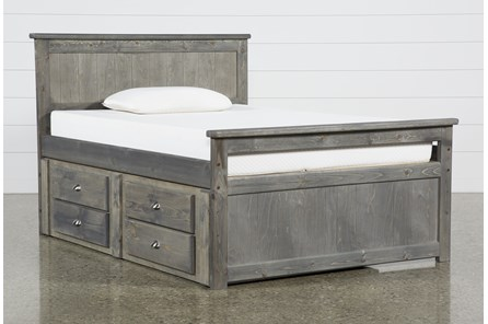 Summit Grey Full Panel Bed With 2-Drawer Captain'S Trundle