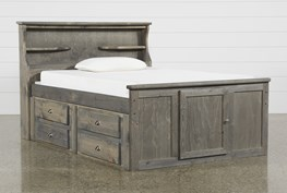 Summit Grey Full Bookcase Bed With 2-Drawer Captain'S Trundle