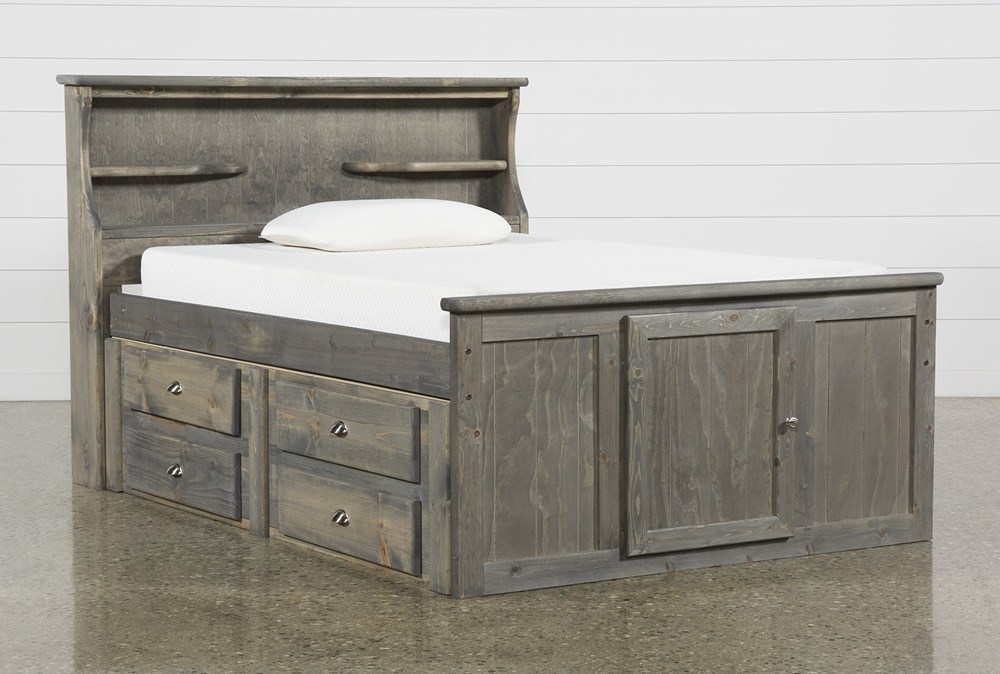 Summit Grey Full Bookcase Bed With 4-Drawer Storage Unit