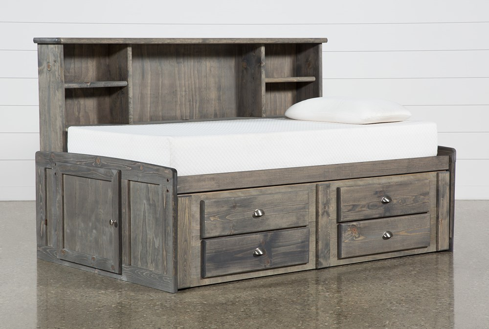 Summit Grey Twin Bookcase Daybed Bed With 2-Drawer Captains Trundle