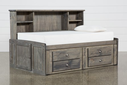 Summit Grey Twin Roomsaver Bed With 2-Drawer Captain'S Trundle