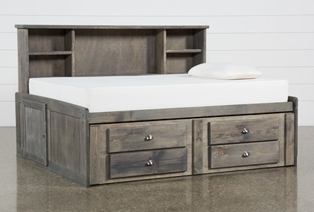 Summit Grey Full Roomsaver Bed With 2-Drawer Captain'S Trundle