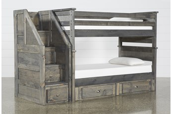 Summit Grey Twin Over Twin Bunk With 2-Drw Underbed Storage & Stairway