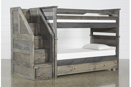 Summit Grey Twin Over Twin Bunk With Trundle/Mattress & Stairway