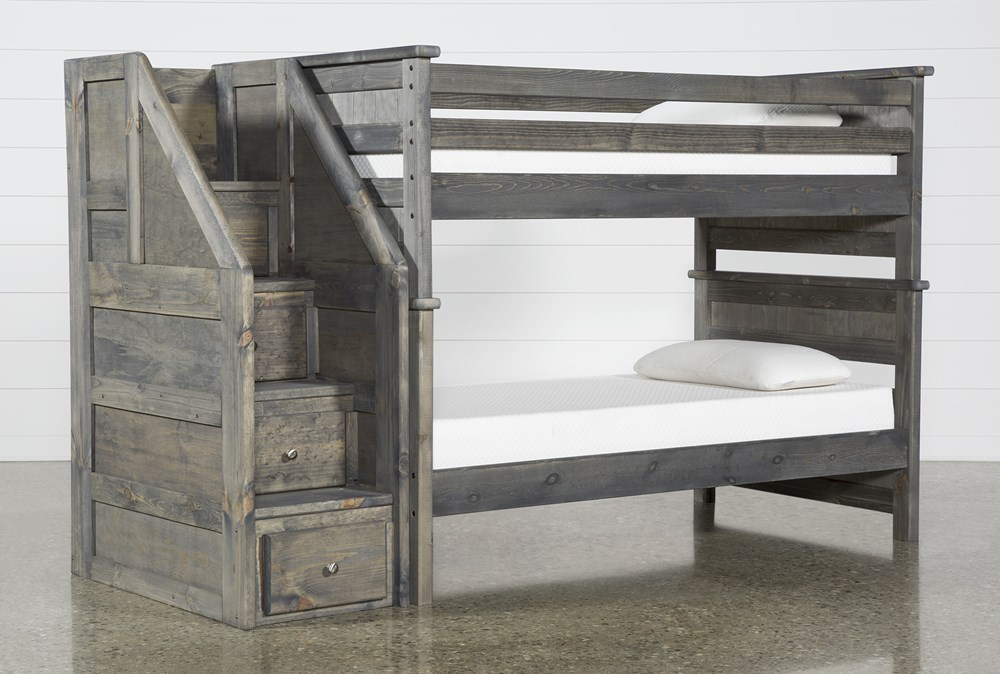 Summit Grey Twin Over Twin Bunk Bed With Stairway Chest