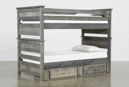 Summit Grey Twin Over Twin Bunk Bed With 2-Drawer Underbed Storage