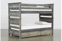 Summit Grey Twin Over Twin Bunk Bed With Trundle With Mattress