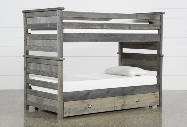 Summit Grey Twin Over Twin Bunk Bed With Trundle With Mattress - 360