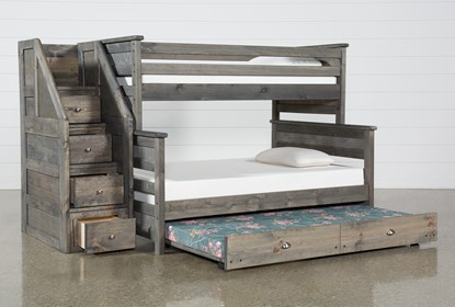 Summit Grey Twin Over Full Bunk With Trundle Mattress Stairway Living Spaces