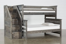 Summit Grey Twin Over Full Bunk Bed With Stairway Chest