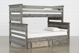 Summit Grey Twin Over Full Bunk Bed With 2-Drawer Underbed Storage