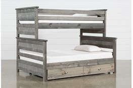 Summit Grey Twin Over Full Bunk Bed With Trundle With Mattress
