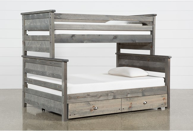 Summit Grey Twin Over Full Bunk Bed With Trundle With Mattress - 360